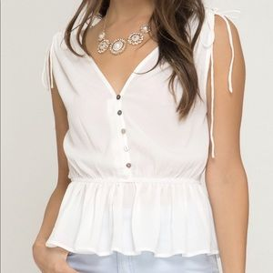 Shoulder Tie Blouse